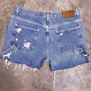 "Tommy Hilfiger • 11"" High Rise Distressed Shorts"